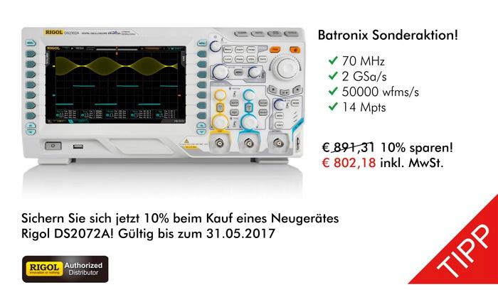 Bild: Erhalten Sie ab sofort einen 10% Batronix Sonderrabatt auf das Rigol DS2072A!