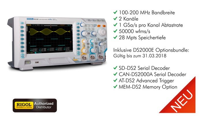 Bild: Die neue Rigol DS2000E Serie