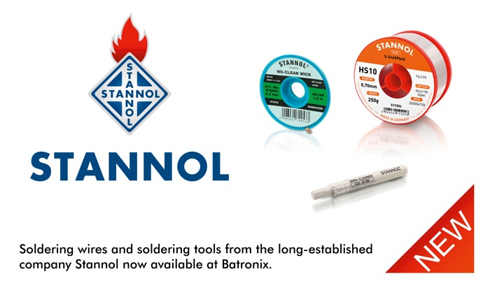 Picture: Stannol soldering wires and soldering tools now available at Batronix!