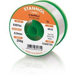 Stannol Soldering Wire HS10, Sn99Cu1 (Sn99.3 Cu0.7), ⌀0.5mm, 250g