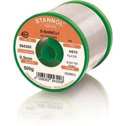 Stannol Soldering Wire HS10, Sn99Cu1 (Sn99.3 Cu0.7), ⌀0.5mm, 500g