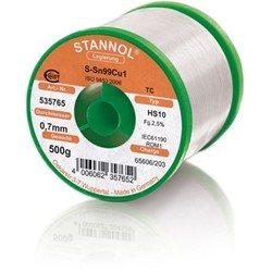Stannol Soldering Wire HS10, Sn99Cu1 (Sn99.3 Cu0.7), ⌀0.7mm, 500g
