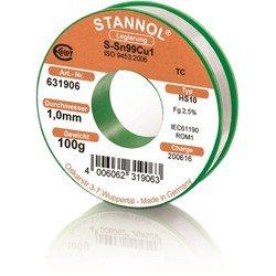 Stannol Soldering Wire HS10, Sn99Cu1 (Sn99.3 Cu0.7), ⌀1.0mm, 100g