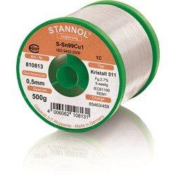 Stannol Soldering Wire Kristall 511, Sn99Cu1 (Sn99.3 Cu0.7), ⌀0.5mm, 500g
